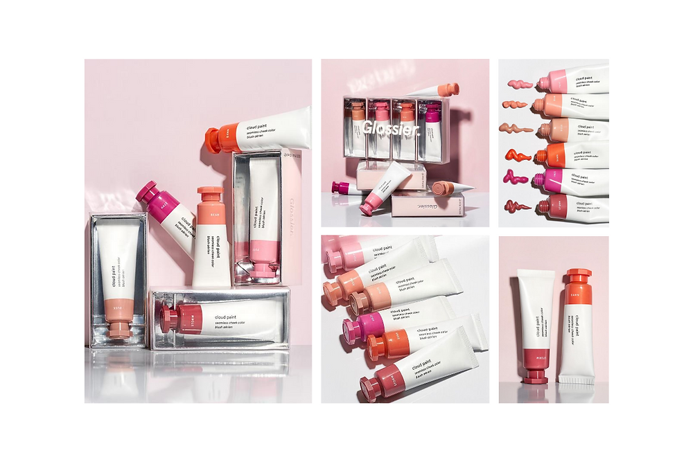 marketing images of glossier cloud paint, Mintoiro, branding, webdesign, webbyrå