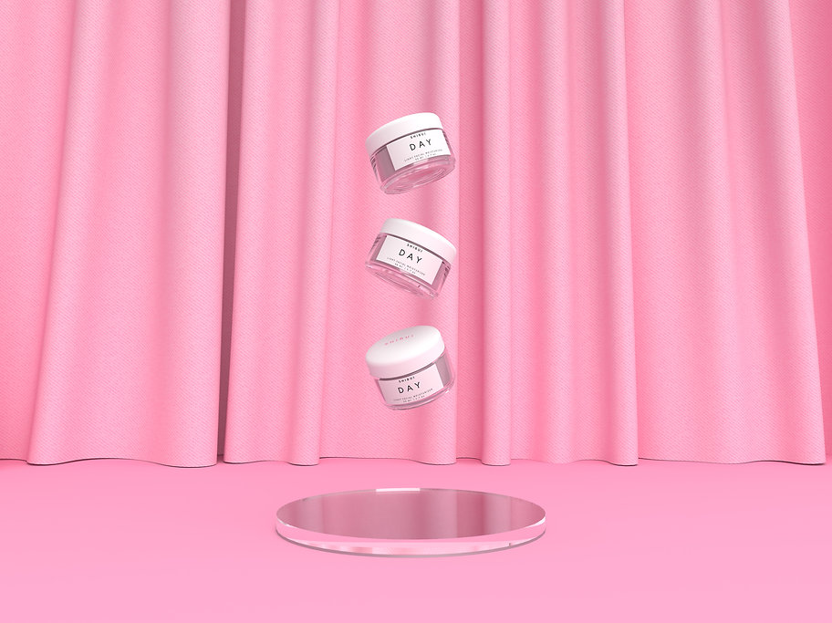Realistic 3D rendering of 3 cosmetics jars floating in the air. The jars are made out of clear glass with a white lid and a white label with minimalist typography. The background of the image is a light warm pink.