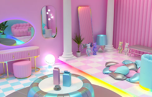 Realistic 3D rendering of a room that is very colorful, has rainbow colored lights, greek columns, checkerboard floors.. I don't know how to describe it other than its A LOT.