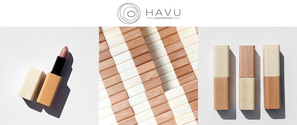 Havu cosmetics wooden packaging lipstick