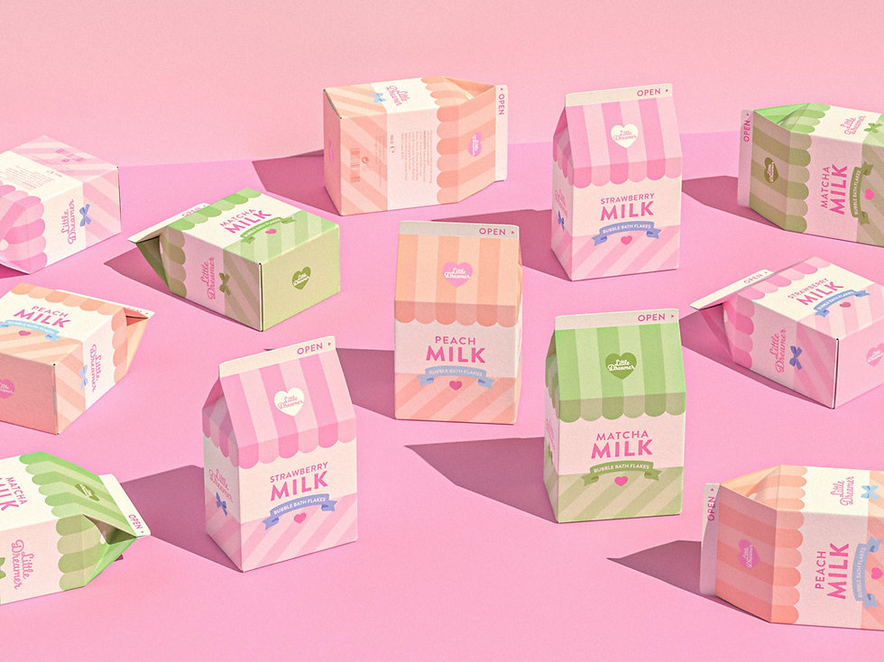 cute pastel colored boxes with bubble bath flakes that look like milk cartens