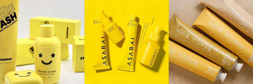 Three images of brands with monochrome yellow packaging, the brands are starface, asarai and bangn body.