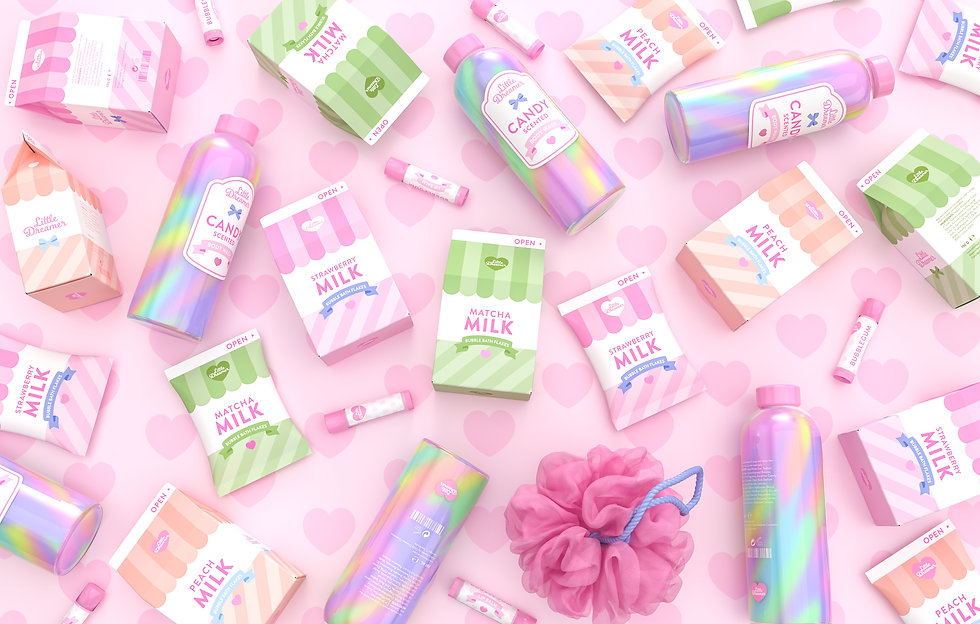 Realistic 3D rendering of various cosmetics products spread around viewed from above. The packaging is cute and colorful.