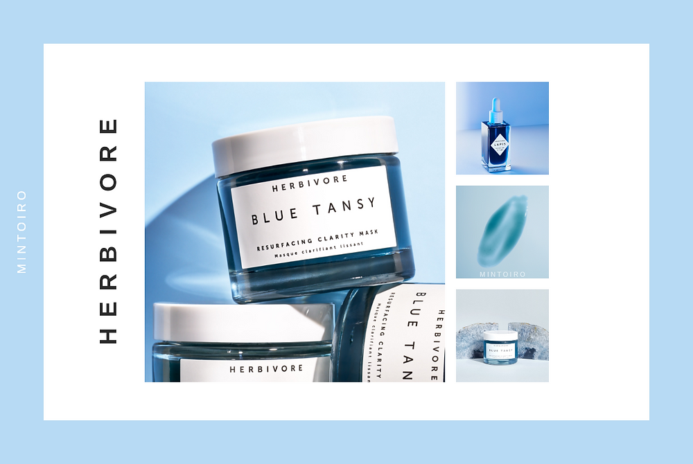 pastel blue cosmetics from herbivore, Mintoiro, branding, webdesign, webbyrå