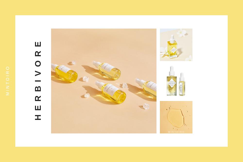yellow cosmetics from herbivore, Mintoiro, branding, webdesign, webbyrå