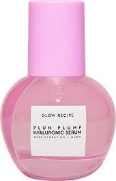 photo of plum plump serum from glow recipe, a clear plastic bottle in a plum like shape with a fushia plastic lid.