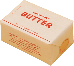 A mango body butter wrapped in paper that makes it look like a package of butter.