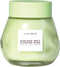 Avocado Melt Sleeping Mask from glow recipe. Glass jar with light green lid.