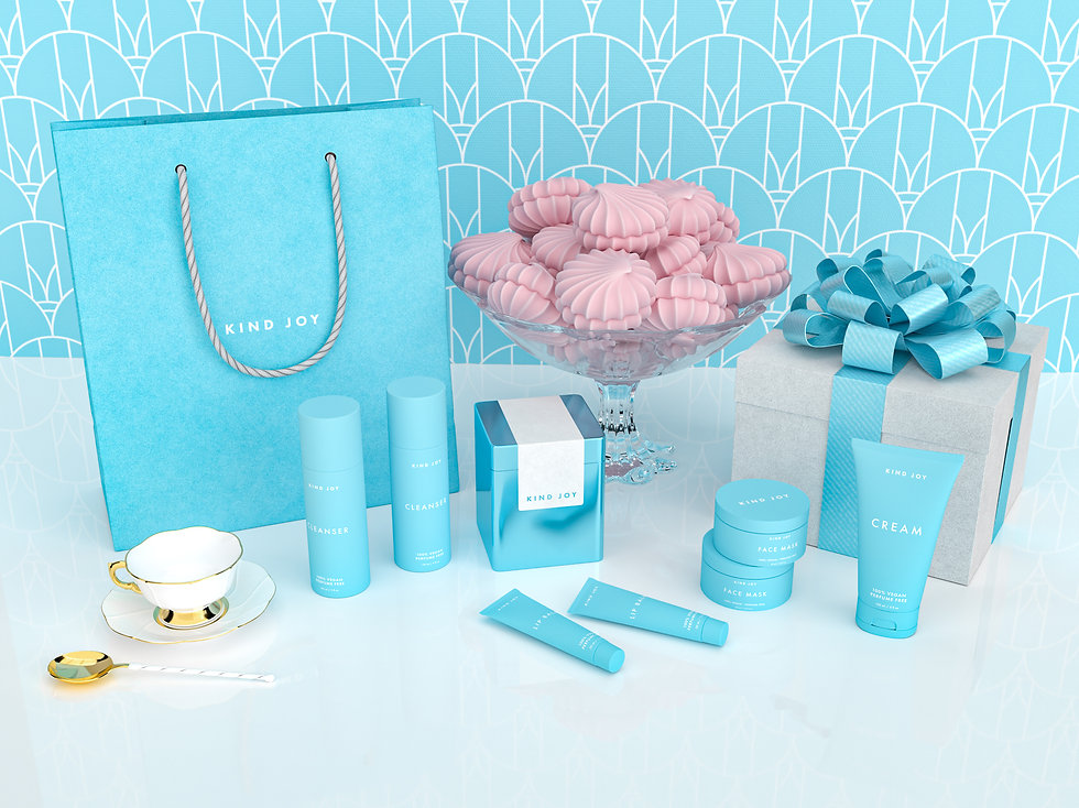Realistic 3D rendering of cosmetics packaging. The packaging is made out of opaque plastic in a babyblue color with a matte finish. They are set on a white glossy table surface with a wrapped giftbox and shopping bag matching the products.