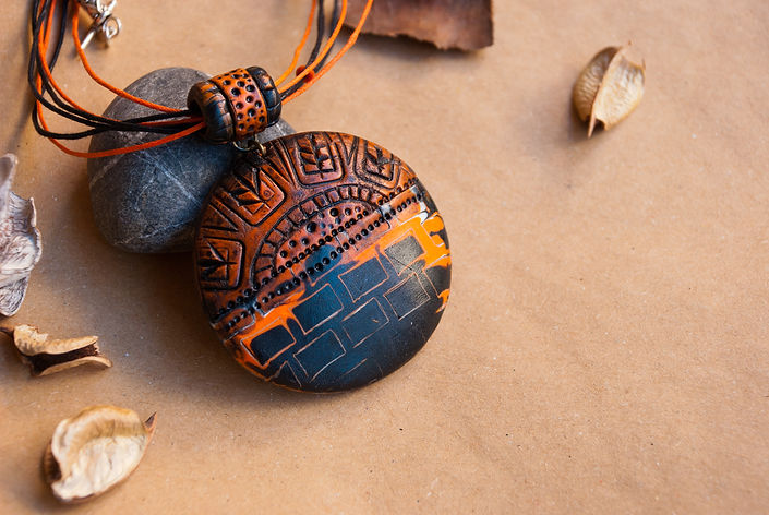 Tribal jewelry.African pendant.African jewelry.Necklace from polymer clay..jpg
