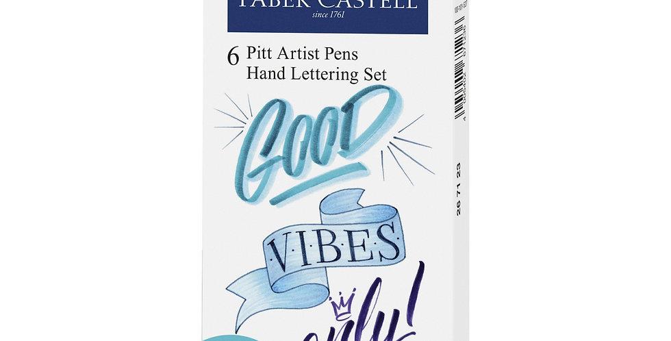 Pitt Artist Pen India ink pen, set of 6 Lettering, Green