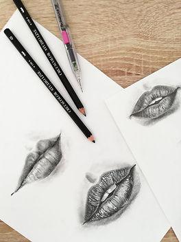 pencil sketch, lips sketch
