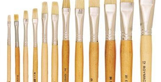 Prime Art Flat Bristle Brush Set 12 Pcs