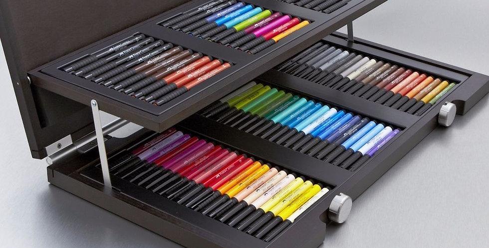 Pitt Artist Pen India ink pen, wooden case of 90