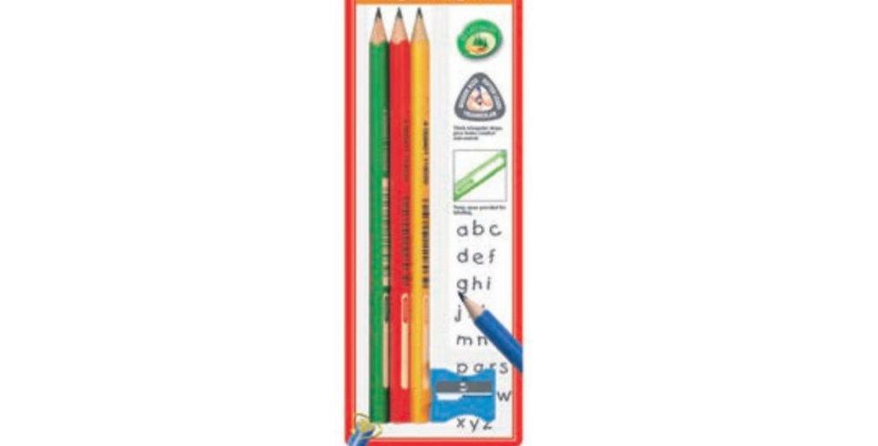 Junior Triangular Graphite Pencils 3pc