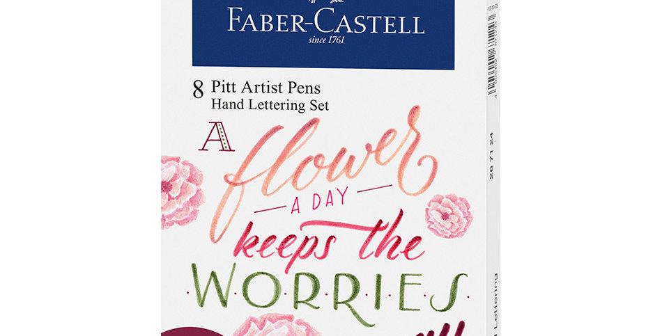 Pitt Artist Pen India ink pen, wallet of 8 Lettering, Pinks