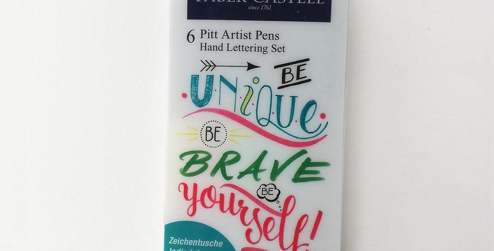 PITT Artist Pens Hand Lettering Set 6pc