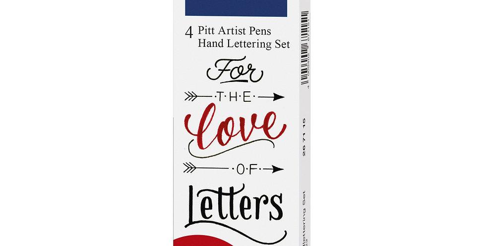 Pitt Artist Pen India ink pen, set of 4 Lettering, black