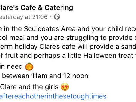 Free Packed Lunch for Free School Meals Kids at Clare's Cafe