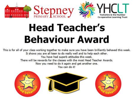 Head Teacher's Behaviour Award Winner