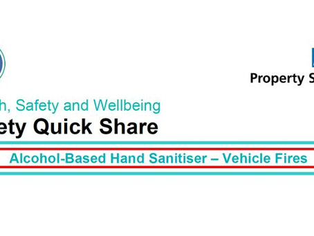 NHS Warning - Danger of Fire from Hand Sanitisers