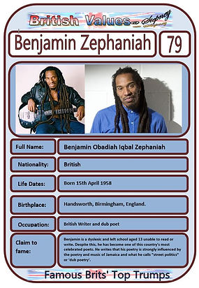 British Values Top Trumps Famous Brits (79) Benjamin Zephaniah.JPG