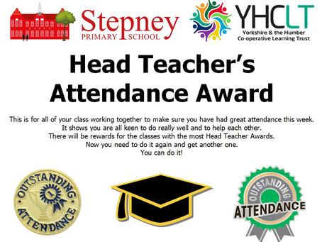 Head Teacher's Attendance Award Winner