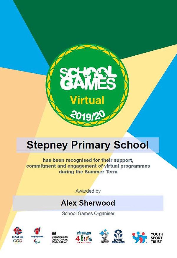 School Games Virtual Recognition Award S