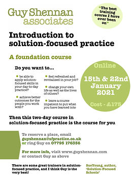 Solution-focused training course flyer