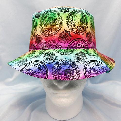 Rainbow animal skulls (cat, dog, raptor, snake) cotton print bucket hat