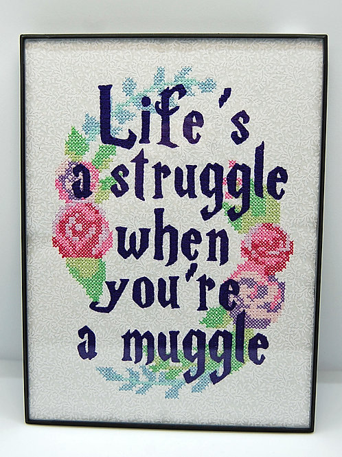"""It's a Struggle not being a wizard - 6 x 8"""" framed embroidered art"""