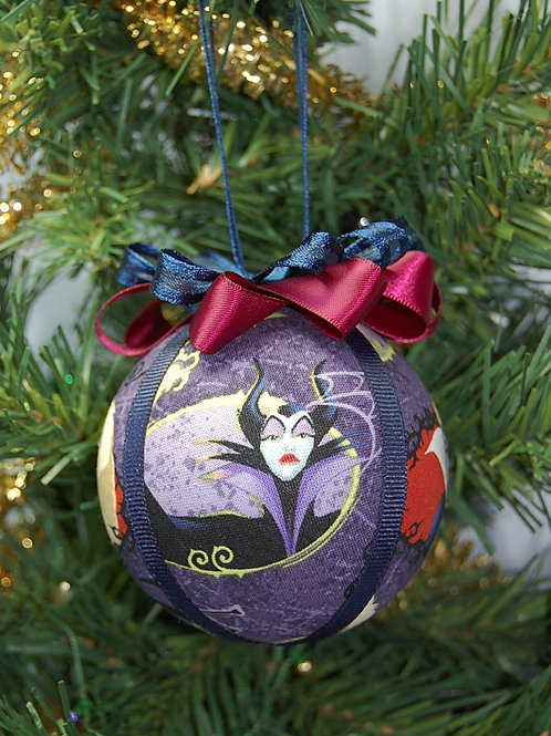 """Ornament made with licensed Villains fabric/styrofoam ball - 3"""""""