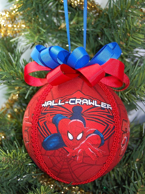 """Ornament made with licensed Spiderman fabric/styrofoam ball - 4"""""""