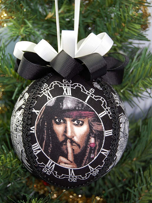"""Ornament made with licensed Jack Sparrow fabric/styrofoam ball - 4"""""""