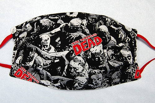 Zombies red/black adult face covering (with adjustable elastic straps)