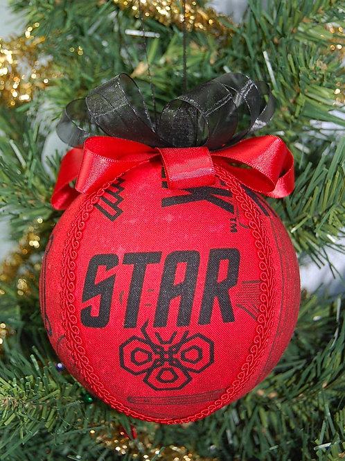 "Ornament made with licensed Star Trek fabric/styrofoam ball - 4"""