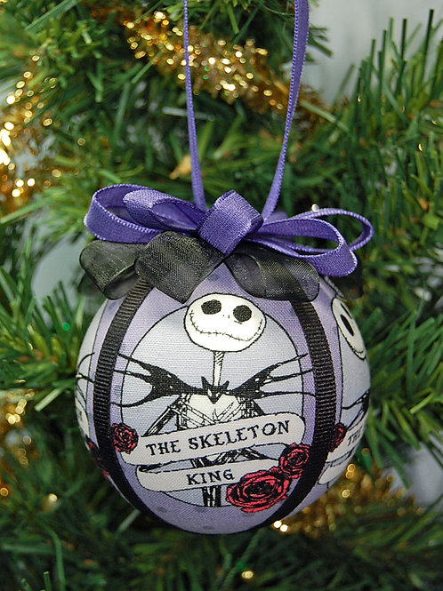 Ornament made with licensed Nightmare Before Christmas fabric/styrofoam ball - 3