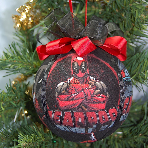 """Ornament made with licensed Deadpool (black) fabric/styrofoam ball-4"""""""