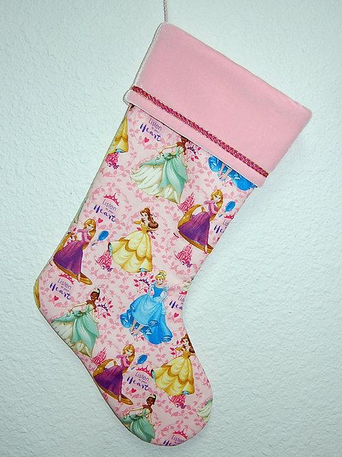 Princesses-pink Christmas stocking-made w/Licensed cotton print fabric