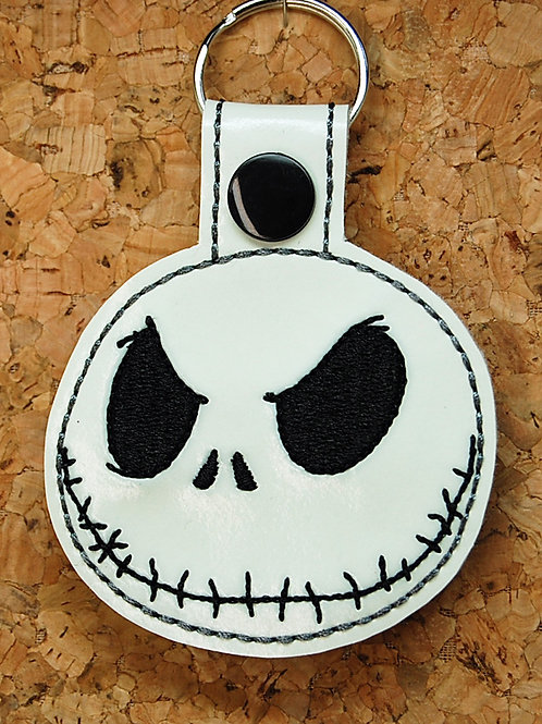 Skeleton Head guy snap tab key fob (glow-in-the-dark)