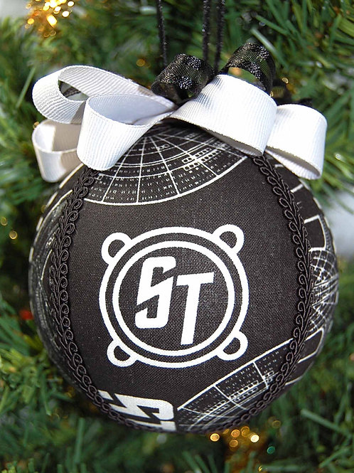 """Star Travel black/grey ornament - 4"""" (made from Licensed cotton print fabric)"""