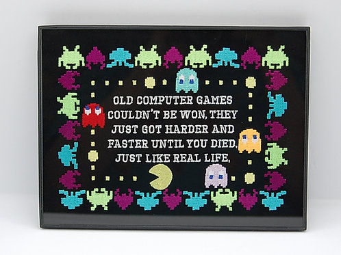 """""""Old Computer Games"""" arcade life 6 x 8"""" framed embroidered art"""