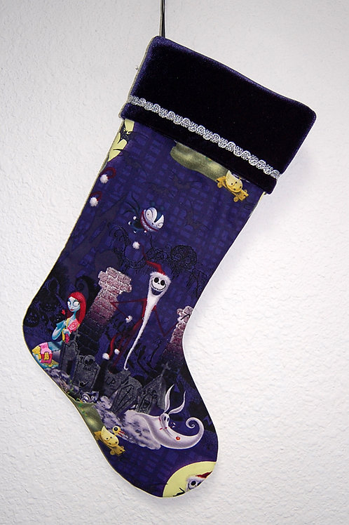 Stocking made with licensed Nightmare Before Christmas (dk purple) cotton fabric
