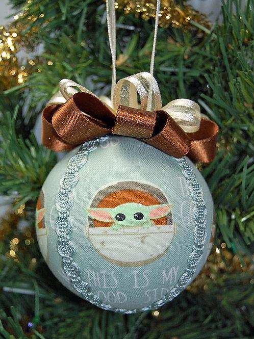 "Ornament made with licensed Star Wars/Mandalorian fabric/styrofoam ball - 3"""