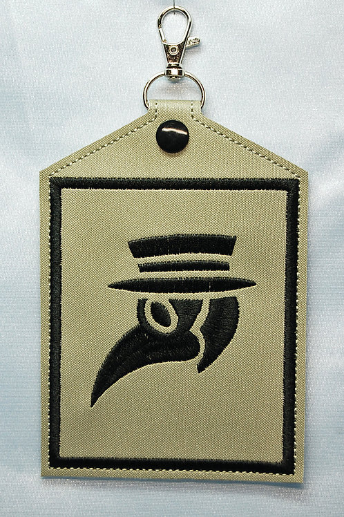 Vaccination Card Holder - embroidered Plague Doctordesign on front. Made of 2
