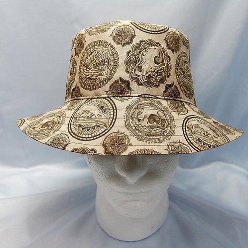 Brown/tan animal skulls (cat, dog, raptor, snake) cotton print bucket hat