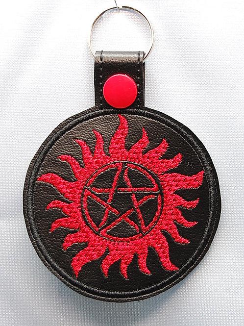 Demon Hunter Anti-demon symbol snap tab key fob