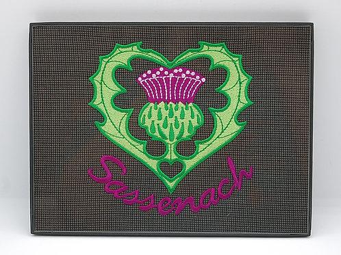 "Sassenach - Scottish Thistle - 6 x 8"" framed embroidered art"