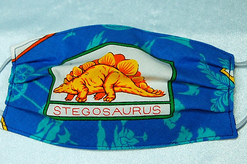 Stegosaurus child face covering (with adjustable elastic straps)