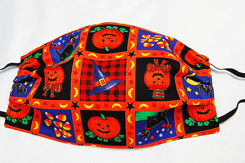 Halloween Squares adult face covering - 3layer/adjustable ear loops/nose wire